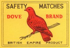 vintage matchbox label  #dove #bird