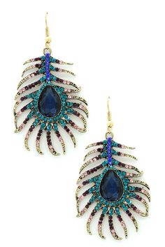 Image of Eye Candy Los Angeles Peacock Feather Earrings