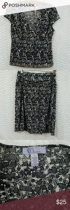 Skirt set Black and grey print. 100% polyester. Machine washable. Nine & Co. Skirts Skirt Sets