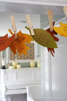 Great family activity- add a leaf to the garland for blessings and thanks. Freebie printable and ideas via Carina Gardner