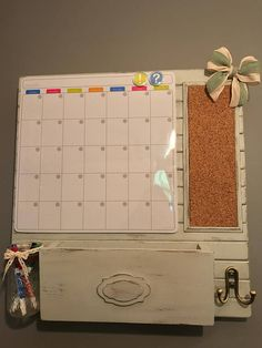 Command Center: Family organization board with magnetic calendar, cork, mail and key storage – Dry Erase Calendar İdeas.