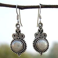 Pearl earrings, 'Clouds of Desire' by NOVICA