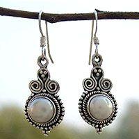 Pearl earrings, 'Clouds of Desire' by NOVICA