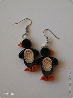 Quilled penguin earrings