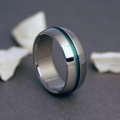 Titanium Band - Domed Profile - One Wide Green Pinstripe