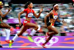 2012 London Olympics track and field events. Women's 100 meter qualifying race but I love the photography work in this shot.