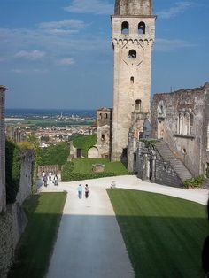Castello di San Salvatore a Conegliano, Treviso. Italy. Treviso is littered with 500 year-old watch towers like this one left over from the days when Italy was run by barons and the cities were fortified. The towers were to keep a lookout for invading armies.
