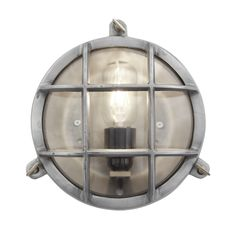 Bulkhead Round Wall Light with Clear Glass - 8 Inch Gunmetal - Side , clear Retro Lighting, Industrial Lighting, Loft Lighting, House Lighting, Lighting Ideas, Flush Mount Lighting, Wall Sconce Lighting, Sconces, Vintage Industrial