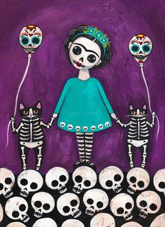 After the Festivities - Day of the Dead - Original Cat Folk Art Painting by KilkennycatArt