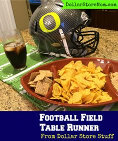 Super Bowl Craft: Football Field Table Runner from dollar store placemats - dollarstoremom.com