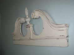 English Colonial Salvaged Mirror Pediment Up Cycled & Distressed in Cream - Large Wall Decor Victorian Cottage Architectural Wall Decor