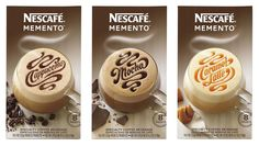 Lettering by Erik Marinovich  Client: Landor Associates w/ Nescafé    Art Direction: Anastasia Laksmi    Lettering for Nescafé's new instant coffee brand called Memento. I worked closely with Landor Associates in San Francisco to create custom lettering on the packaging for each flavor.