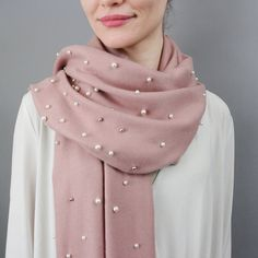 A new lightweight version of our ever popular cashmere and pearl shawl. Pick your favourite colourway! We're loving our new cashmere and pearl shawl. Big enough to wrap around yourself but not too bi. Ways To Wear A Scarf, How To Wear Scarves, Classy Outfits, Cool Outfits, Hijab Style Tutorial, Cashmere Shawl, Chiffon Shawl, Spring Scarves, Designer Scarves