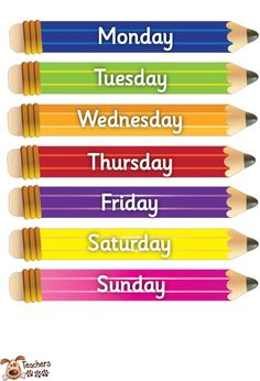 Teacher's Pet - Small pencil-days of the week - FREE Classroom Display Resource - EYFS, KS1, KS2, pencils, pencil, days of the week, days, week, day, weeks