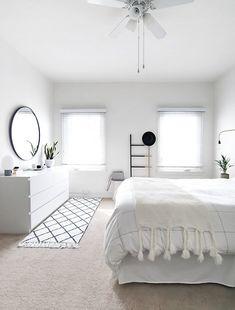 Ikea white dresser in a Scandinavian Bedroom via Homey Oh My White Bedroom Decor, Bedroom Sets, Home Decor Bedroom, Diy Bedroom, Bedroom Storage, Decor Room, Bedroom Curtains, Bedroom Wallpaper, Bedroom Black