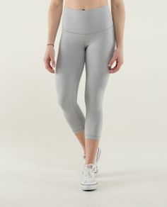 Lululemon wunder under roll down crop. In black. Finally, a nice rise for us tall girls!