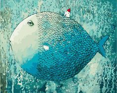 Сделай сам цифровой живописи пейзаж рука рисунок мультфильм рыбы бесплатная доставка маленький дом спит рыба 40 * 50 80 * 100