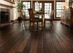 Hand scraped hardwood flooring is a technique used to create distress marks on wood. This gives the appearance of recycled or old wood floors Flooring Sale, Engineered Hardwood Flooring, Diy Flooring, Flooring Ideas, Laminate Flooring, Soft Flooring, Distressed Hardwood Floors, Diy Wood Floors, Houses