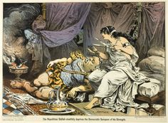 Joseph Keppler American, 1638-1894, The Republican Dalilah Stealthily the Democratic Sampson of his Strength, from Puck
