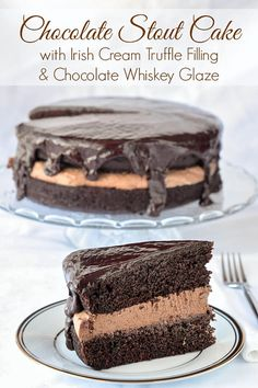 Chocolate Stout Cake with Irish Cream Truffle Filling & Chocolate Whisky Glaze