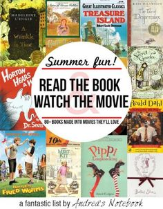 Over 80 great childrens books made into movies. Read the book then - Kids Audio Books - ideas of Kids Audio Books - Summer fun! Over 80 great childrens books made into movies. Read the book then watch the movie! Summer Activities For Kids, Summer Kids, Book Activities, Indoor Activities, Educational Activities, E Mc2, Kids Reading, Reading Lists, Reading Books