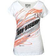 Chase Authentics Tony Stewart Ladies Lightning Fashion Slim Fit V-Neck T-Shirt - White