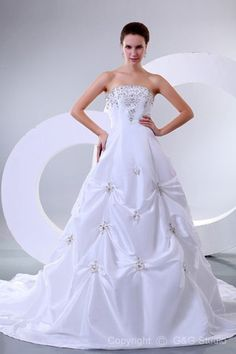 Floor-length White Taffeta Sleeveless Lace-up A Line Wedding Dresses