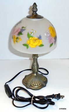 Floral Frosted glass lamp bulb small plug in toggle switch on cord ornate bronze