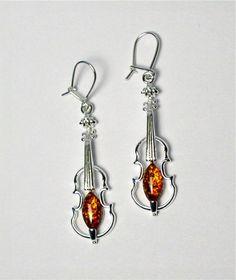 violin dangle earrings   Sterling Silver Violin Earrings with Amber so cool