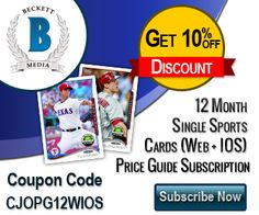 Get 15% OFF on 12 Month Single Sports (Baseball, Football, Basketball, Hockey) Cards (Web + IOS) Price Guide Subscription.Use Coupon Code:CJOPG12WIOS
