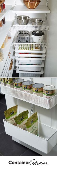 Yes, your pantry can be this organized, too! We made use of every inch in Stephanie's pantry with elfa. Decor Drawers and Shelf Baskets make items easy to access. We made use of the space behind the door with an elfa utility Door & Wallrack. See what else we did to make over Stephanie's pantry.