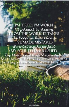 I just saw Tenth Avenue North in concert, and when they sang this song I had tears streaming down my face. Such a great song!