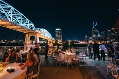 Wedding reception with a spectacular view of Nashville skyline from The Bridge Building | Wedding | Wedding ideas | Wedding inspiration | Event Planning