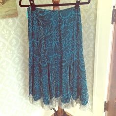 Tracy Reese Velvet Skirt Pretty teal patterned velvet skirt from Tracy Reese. Lace trim at the bottom. Never worn. Tracy Reese Skirts