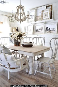 Cottage Dining Rooms, Shabby Chic Dining Room, Dining Room Curtains, Farmhouse Dining Room Table, Dining Nook, Dining Room Design, French Country Dining Room, Dining Tables, Farmhouse Chairs
