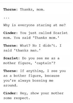 Lol a brother figure? accept it Scarlet is the mom friend of the group! ☝️ No kai is the mom figure This Is A Book, Love Book, Book Memes, Book Quotes, Lunar Chronicles Quotes, Scarlet, Marissa Meyer Books, My Champion, Book Fandoms