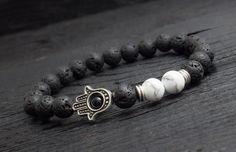 Black lava stone and white howlit beaded #Hamsa hand stretchy #bracelet made to order yoga bracelet