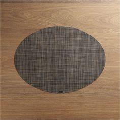 Chilewich ® Mini Basketweave Dark Walnut Oval Vinyl Placemat - Crate and Barrel