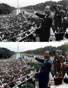 """Amazing Colorized Historical Photos You Shouldn't Miss - Martin Luther King Jr. , Washington The moment when Martin Luther King Jr. gave his """"I Have A Dream"""" speech. Colorized Historical Photos, Colorized History, Historical Pictures, Martin Luther King, Iconic Photos, Old Photos, Rare Photos, Famous Black, African American History"""