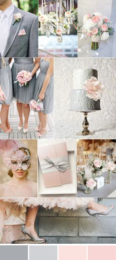 lovely pink and grey wedding color ideas