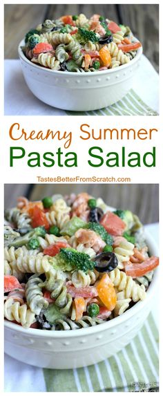 Creamy Summer Pasta Salad on TastesBetterFromScratch.com--my favorite healthy side dish made with Greek yogurt! #HiddenValley #HiddenValleyGreek #ad