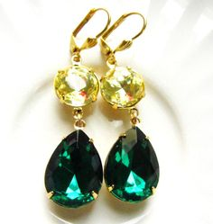 Emerald Green and Jonquil Earrings Gold. Yellow and Green, Wedding Jewelry, bridesmaid gift, Kyle Richards & Angelina Jolie