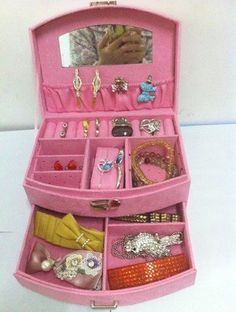 KLOUD ® Pink two-layer lint jewelry box / organizer / display storage case with a drawer plus KLOUD cleaning cloth by KLOUD, http://www.amazon.com/dp/B00BQP45PY/ref=cm_sw_r_pi_dp_H.1msb1X8T84H