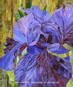 Incredible detail. Must see more from this mosaic artist! http://www.Mosaicsphere.com/mosaics_images/flowers/iris_purple.jpg
