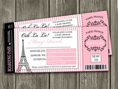 Printable Paris Boarding Pass Baby Shower Invitation | Paris Ticket | Paris, France Invite | Baby Girl | Party Package Decorations Available | www.dazzleexpressions.com