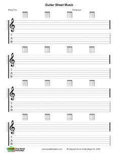 guitar blank printable sheet music, staff and tab lines ...