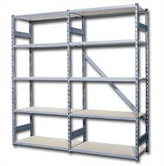 Something like this for the basement - I'd need several to get me started.  Look for best value for my budget (cheap).  UNIQUE STEEL EDGE SHELVING at Material Handling Solutions