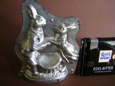 Antike Schokoladenform Herr u. Frau Hase.. Heris Antique chocolate mold mould
