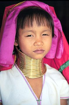 Ban Nai Soi, ThailandPadaung Karen Longneck girl near Mae Hong Son..