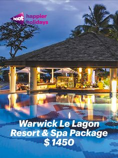 Warwick Le Lagon Resort & Spa Package Package Details Book by 31 Jan 20 TRAVEL * Return international airfares flying Air Vanuatu. Seafood Shop, Seafood Buffet, Fly Air, Dinner For 2, Spa Packages, Jan 20, Vanuatu, Resort Spa